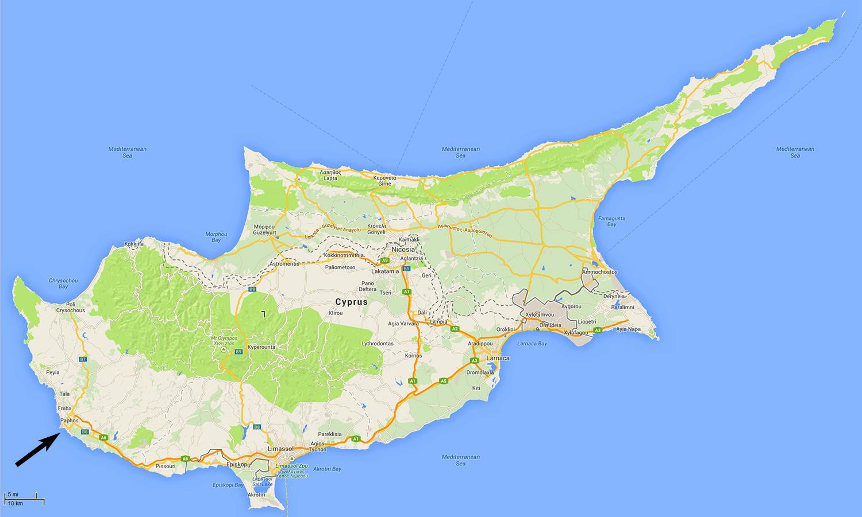 Paphos Cipar Karta Cipra Paphos Juzna Europa Europa