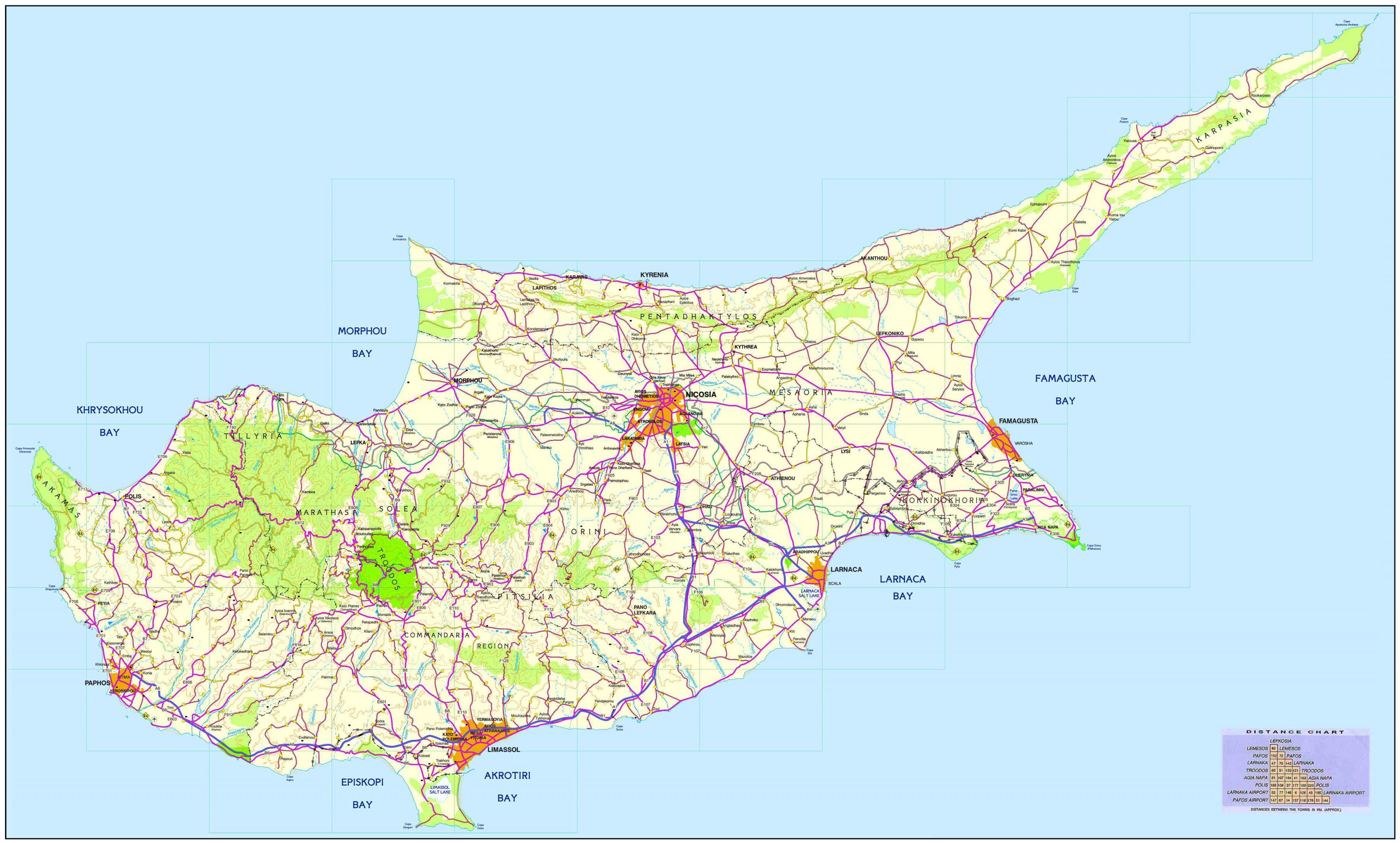 Putokaz Cipar Karta Cesta Cipra Juzna Europa Europa